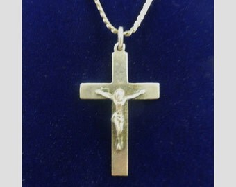 Vintage Solid Silver Cross And Chain With Figure. - silver cross and chain crusifix silver cross silver chain silver crusifix and chain