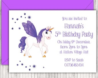 Personalised Birthday Party Invitations or Thank You Cards, Purple Unicorn