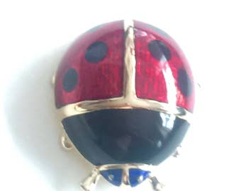 Vintage enamel ladybird brooch