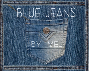 Blue Jeans real photo for scrapbook in high resolution / Pockets, button, details and seams in PNG / Make your website, your invitation!