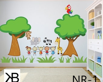 Wall Decals For Kids, Wall Decals, Wall Decor, Wall Decal, Room Decor, Wall Decals Nursery, Animals Park, Kids Wall,Vinyl, Baby Nursery