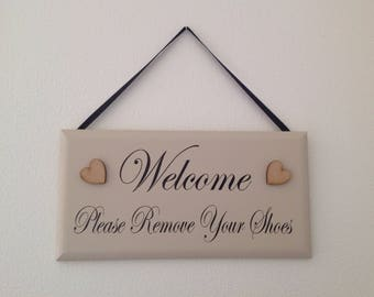 Please Remove Your Shoes Sign Wood Plaque Beige