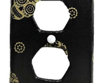 Gold Sugar Skull Day of the Dead Light Switch Plate Cover