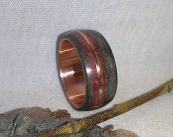 Wood Ring Ebony and Red Stone with copper bent wood Wood Ring, Mens Wedding Band, Mens Wood Ring, Wooden Wedding Band, Womens Wood Ring