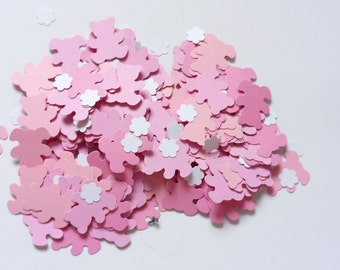 Handmade baby pink baby shower confetti teddy bears with small flowers