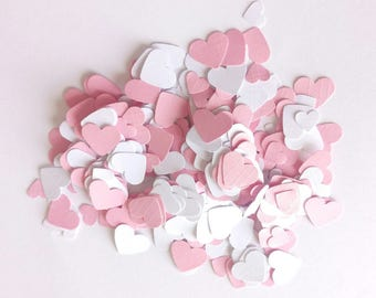 Handmade heart shaped table confetti in pastel pink and white