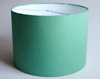 "Drum Lamp Shade // 12"" d x 9"" h //  Joel Dewberry Fabric"