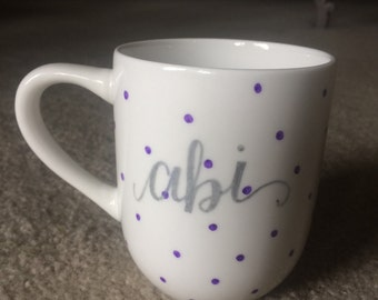 To the Tea Personalized Mug with Polka Dots