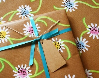 Daisy Chain - Luxury Gift Wrap Pack (Blue Satin Ribbon)