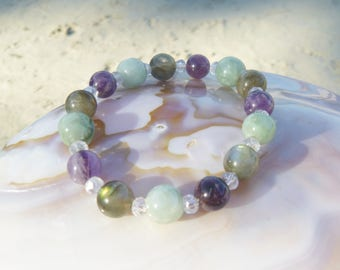 perfect balance bracelet: jade, amethyst, labradorite