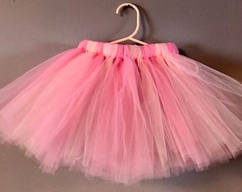 Long Pink Ivory Tutu - Baby Cake Smash Tutu - Birthday Tutu - Photo Shoot Prop Tutu - Birthday Party Tutu