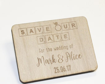 Rectangular Save Our Date Magnets | Wood