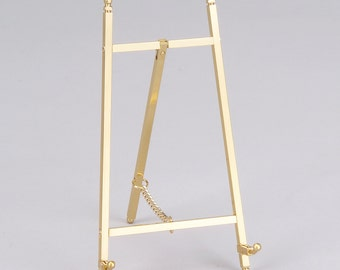 Decorative Brass or Nickel Plated Easel Display Stand, 6.75 inches high