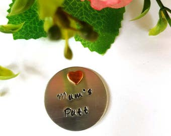 Hand Stamped Golf Ball Marker. Personalize your Golf Ball Marker