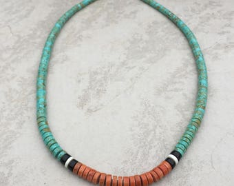 Native American Santo Domingo Green Turquoise and Apple Coral Heishi Necklace - Rudy & Mary Coriz