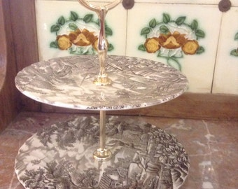 Vintage two tiered cake stand with pheasant shoot scene