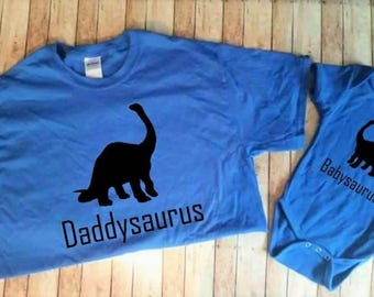 Daddysaurus babysaurus matching shirt set daddy and me shirt father's day gift