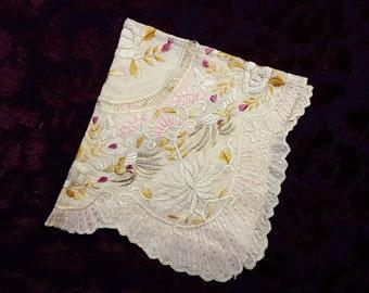 Hand Embroidered Silk Hankie - Scalloped Edges, - Butterflies, Birds, Flowers