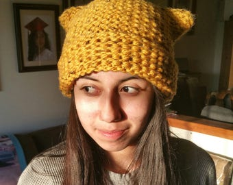 Knitted Kitty Ear Hat
