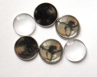 Cabochon Tray Setting with Glass Dome Silver x 5 Sets