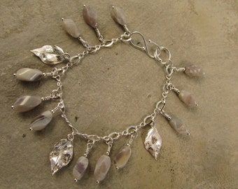 Handmade African opal and sterling silver bracelet