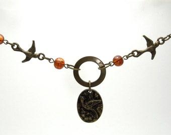 Brass Bird Necklace, brass swallow, bird necklace, swallow necklace, sparrow necklace, bird charm, bird jewelry, vintage inspired necklace