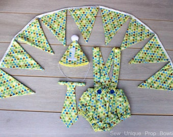 4 Piece One Of A Kind Cake Smash Outfit With Bunting