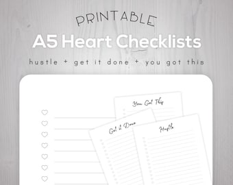 A5 Printable Checklist Sayings Planner Inserts | Hustle, Get it Done, You Got This | Filofax Kikki K Large