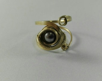 Brass Ring Adjustable Grey Pearl