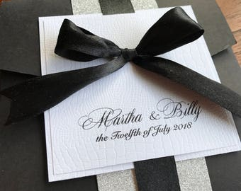 Black Bow Silver Personalised Pocket Fold Wedding Invitation - Sample - Luxury and Unique - Wedding Stationary - THE BOW Invitations