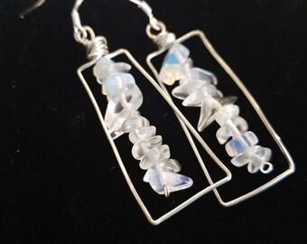 Handmade rectangular Moonstone glass earrings