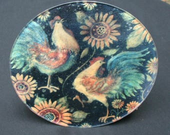 Vintage Rooster and Hen Trivet From The 1970's.  Cool Glass Trivit Or Hang On The Wall