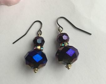 Purple Multi-color Earrings - Bridesmaid Gift, Dangle Drop Earrings, Sparkly Earrings, Hostess Gift