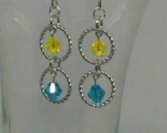 Beautiful Silver Ring andBlue and Yellow Crystal Beads Dangle Earrings