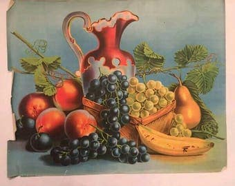 Victorian Era Art Print Still Life Of Fruit Peaches And Cream Color 1800's Old