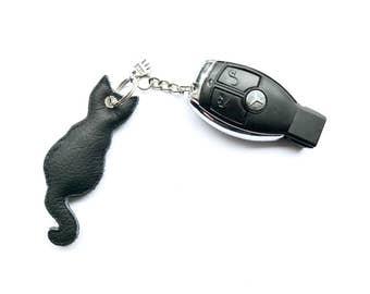 Cat Keychain black leather