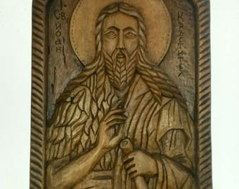 "Woodcarving icon ""St. Ivan Krastitel"""