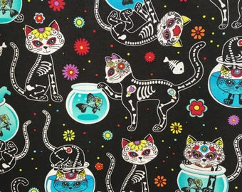 Cat fabric - sugar skull skeleton - black cat cotton - fun cat print - sugar skull fabric - cats and bones fabric - animal print fabric