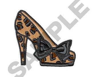 Leopard Print Shoe - Machine Embroidery Design