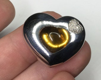 Chopard Designer 18K White Gold 5.36 CTW Citrine & Diamond Heart Pendant 25 Gram