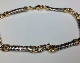 "Estate 14k Yellow & White Gold Rope Braided Linked Bracelet 12 Grams 8"" Long"