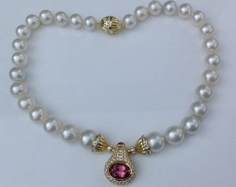 Estate 18K Yellow Gold Designer Pink Tourmaline Diamond South Sea Pearl Necklace