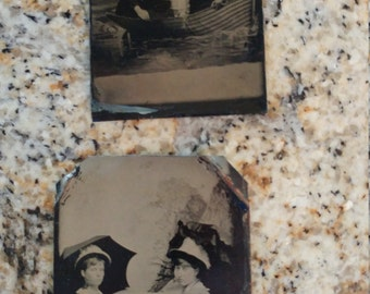 Sail Away:  Lot of 2 Antique Tintype Photographs of Women in Boats,  Two women with Parasols and Three Women in Hats
