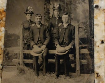 Do a Double Take:  Antique Tintype Photograph of 2 Couples Dressed Similarly