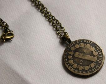 Rare piece 1791 brass necklace handmade, mesh convict