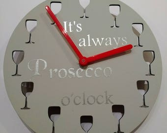 It's always prosecco o'clock. Handmade clock.