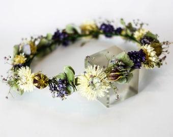 Lilac Love Flower Crown / Circlet / Headdress | Purple, Cream, Green | Dried Flowers | Handmade