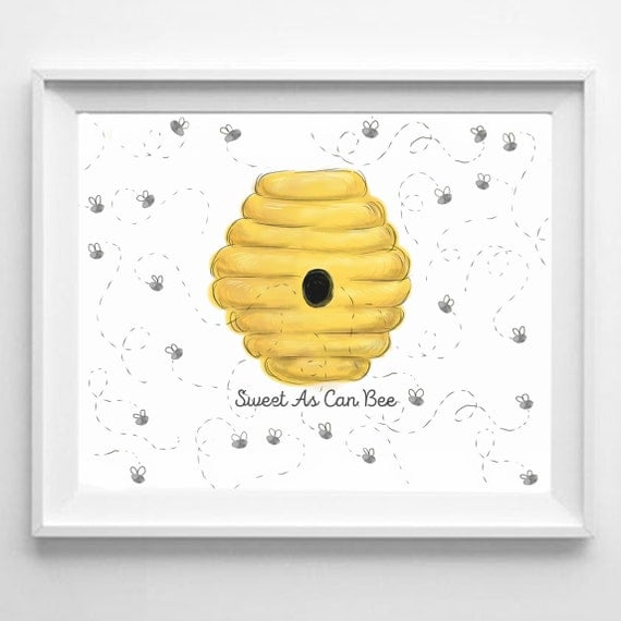 Baby Shower Fingerprint Guestbook Bumble Bee Baby Girl Baby