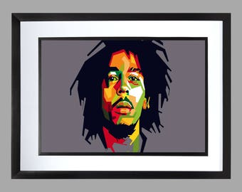 Bob Marley Wall Art Print . Graphic . Home Art . Poster . and the wailers . reggae