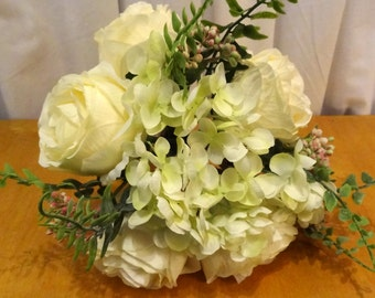 White Roses with Hydrangea Bouquet